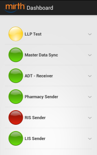 Mirth Client Android - Dashboard