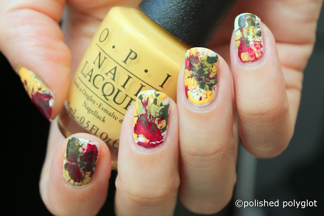 Red, yellow & green Splatter Nail design with OPI Washington collection