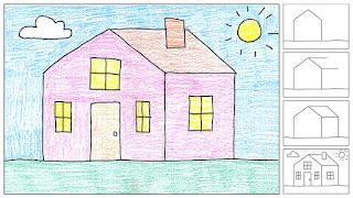 gambar cara-cara melukis rumah dan panduan mewarna untuk kanak-kanak