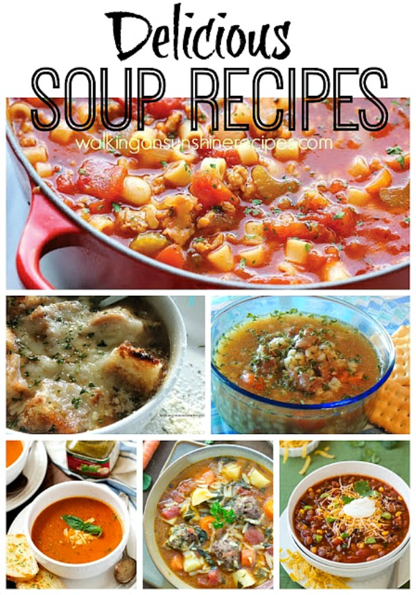 A great collection of delicious soup recipes perfect for the colder temperatures | Walking on Sunshine Recipes.