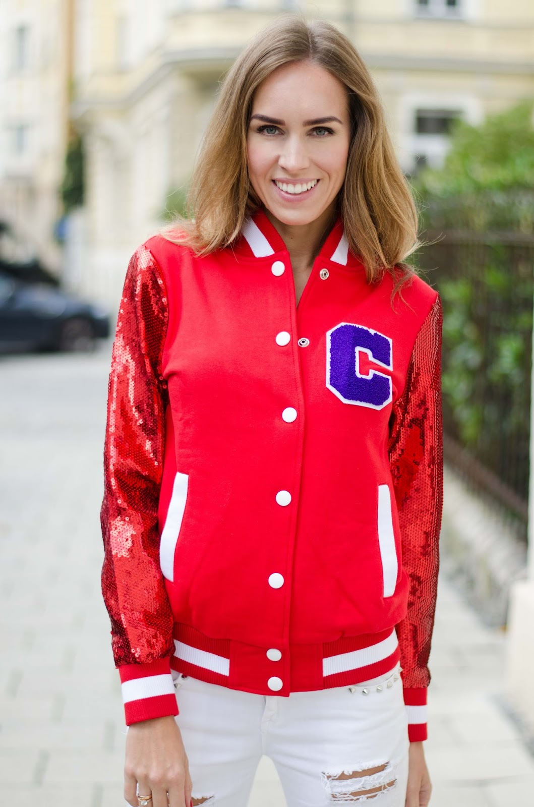 kristjaana mere covu clothing red sequin bomber jacket