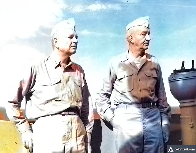 Gen. Robert Eichelberger and Rear Admiral W. M. Fechteler on the USS Spencer en route to Nasugbu.  Image source:  United States National Archives.  Colorized courtesy of Algorithmia.