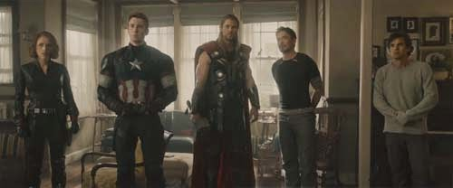 Scarlett Johansson, Chris Evans, Chris Hemsworth, Roberty Downey Jr, Mark Ruffalo in Avengers: Age of Ultron