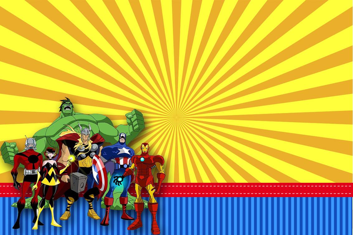 Los Vengadores Comic Invitaciones De Fiesta Para Imprimir