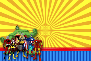 Avengers Comic Version Free Printable Invitations, Labels or Cards.