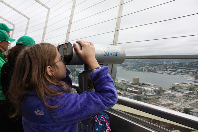 Checking out the view from the Space Needle