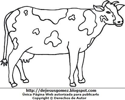 Imagen de vaca para colorear pintar imprimir. Dibujo de una vaca de Jesus Gómez
