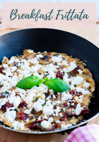 Breakfast Frittata with Feta Cheese, Mushrooms and Sun-dried Tomatoes