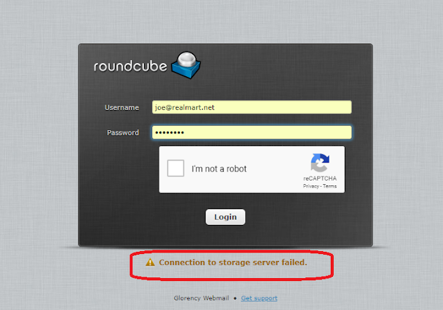 Solved : CWP Roundcube Login Problem [ Connection to storage server failed ]
