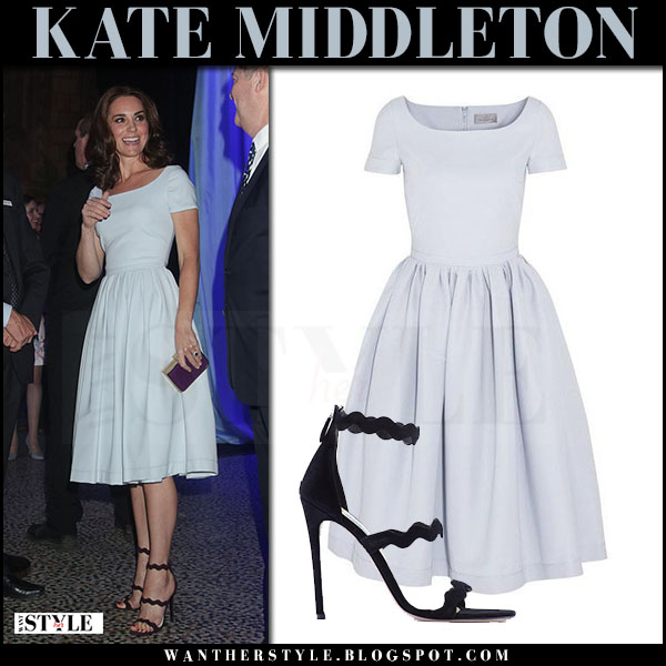 Kate Middleton in light blue midi dress from Preen july 13 2017 what she wore style