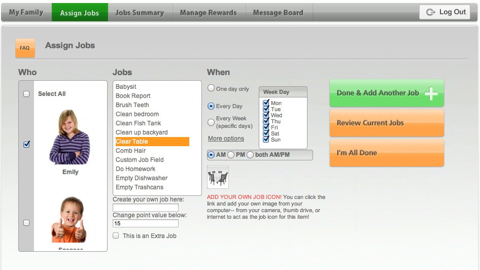 Back to School My Job Chart Online Chore Chart for Kids Review ~ A - chore chart online