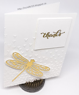 Linda Vich Creates: Elegant Dragonfly Thank You. Elegant thank you card created in white and gold, topped with a stunning gold dragonfly die cut.