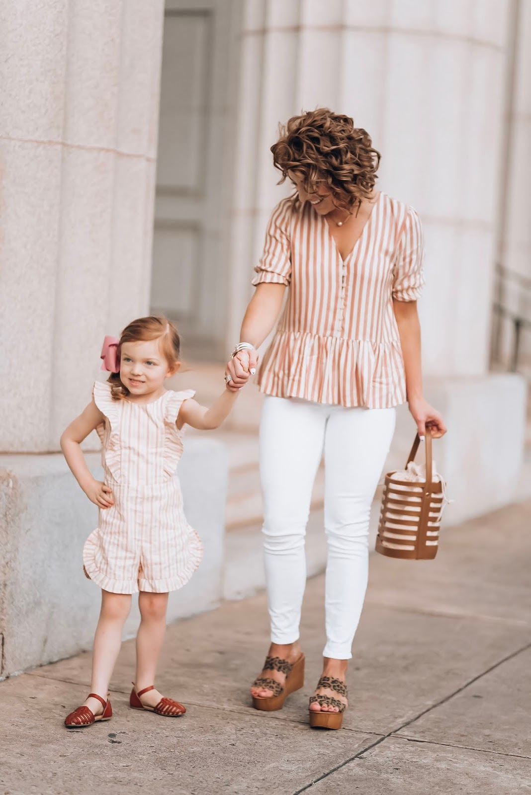 Mommy and Me Stripes for Spring: Madewell Stripe Peplum Top + Target Style Bow Back Romper for toddler girls - Something Delightful Blog #springstyle #springfashion #springlooks
