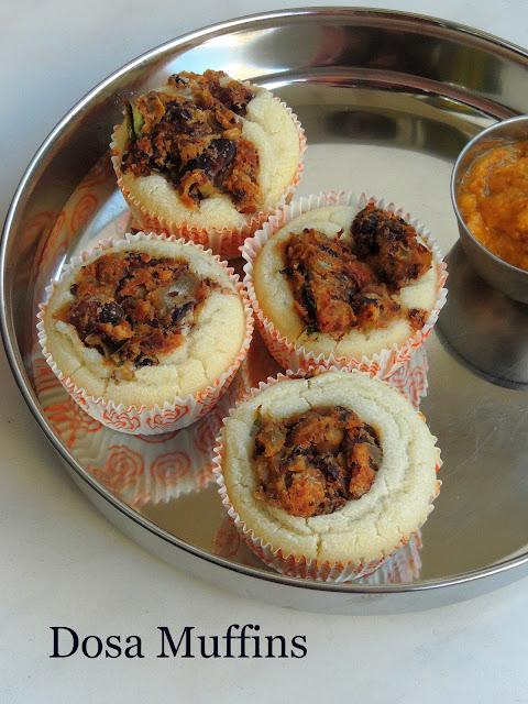 Desi Muffins With Rajma, Rajma Masala Stuffed Baked Dosa Muffins