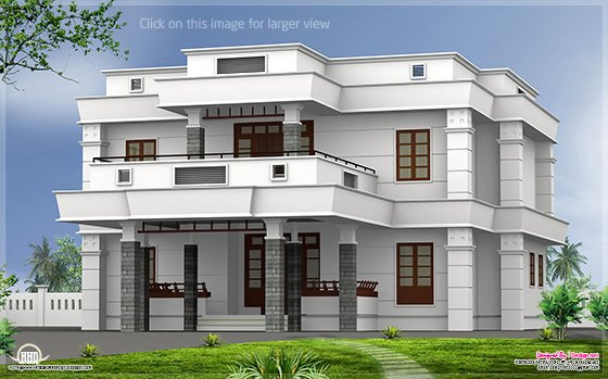 5 BHK modern flat roof house