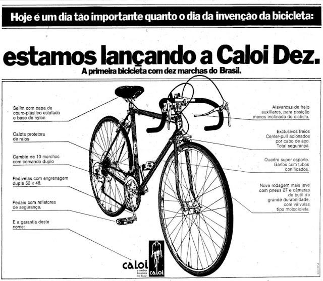 Propaganda da Caloi apresentando a primeira bicicleta com dez marchas do Brasil