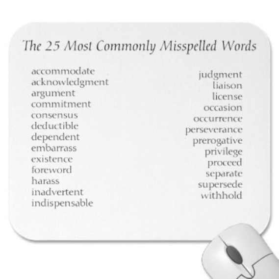 Here Is A List Of 50 Most Commonly Misspelled Words And Often More Misused