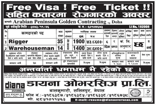 Free Visa Free Ticket Jobs in Qatar for Nepali, Salary Rs 53,860