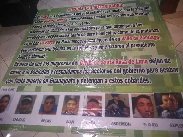 CJNG cuelga Narcomantas en Salamanca, Gto se deslinda de ataques y culpa a El Marro