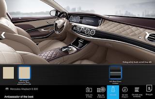 Nội thất Mercedes Maybach S500 2017 màu Vàng Silk 975