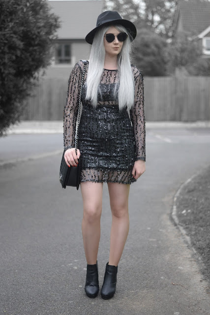Sammi Jackson - Primark Black Fedora / Zaful Sunglasses / NaaNaa at ASOS Black Sequin Dress / OASAP Quilted Flap Bag / Office Chunky Ankle Boots
