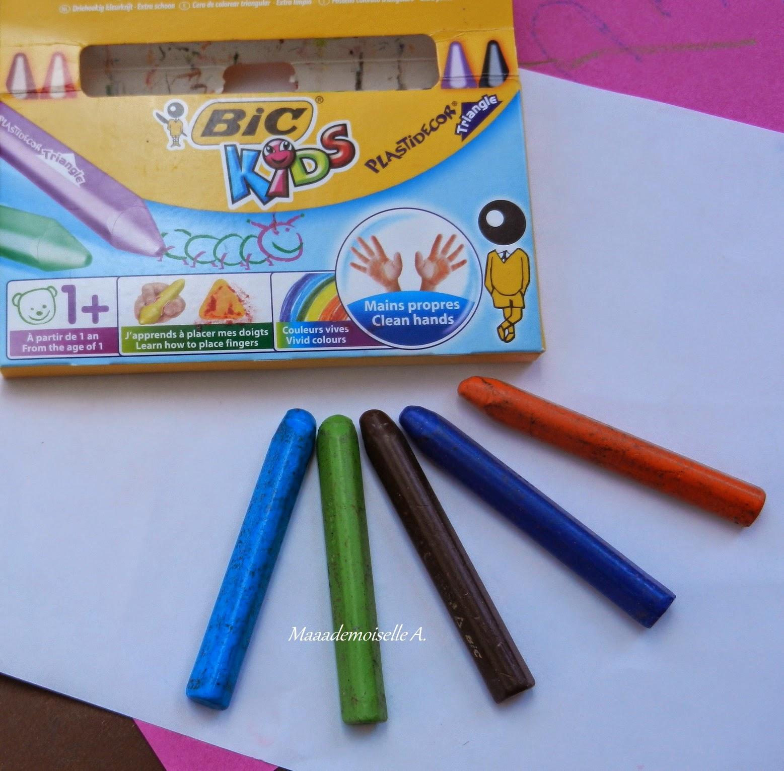 Activité : dessin avec les craies Bic Kids Plastidecor Triangle