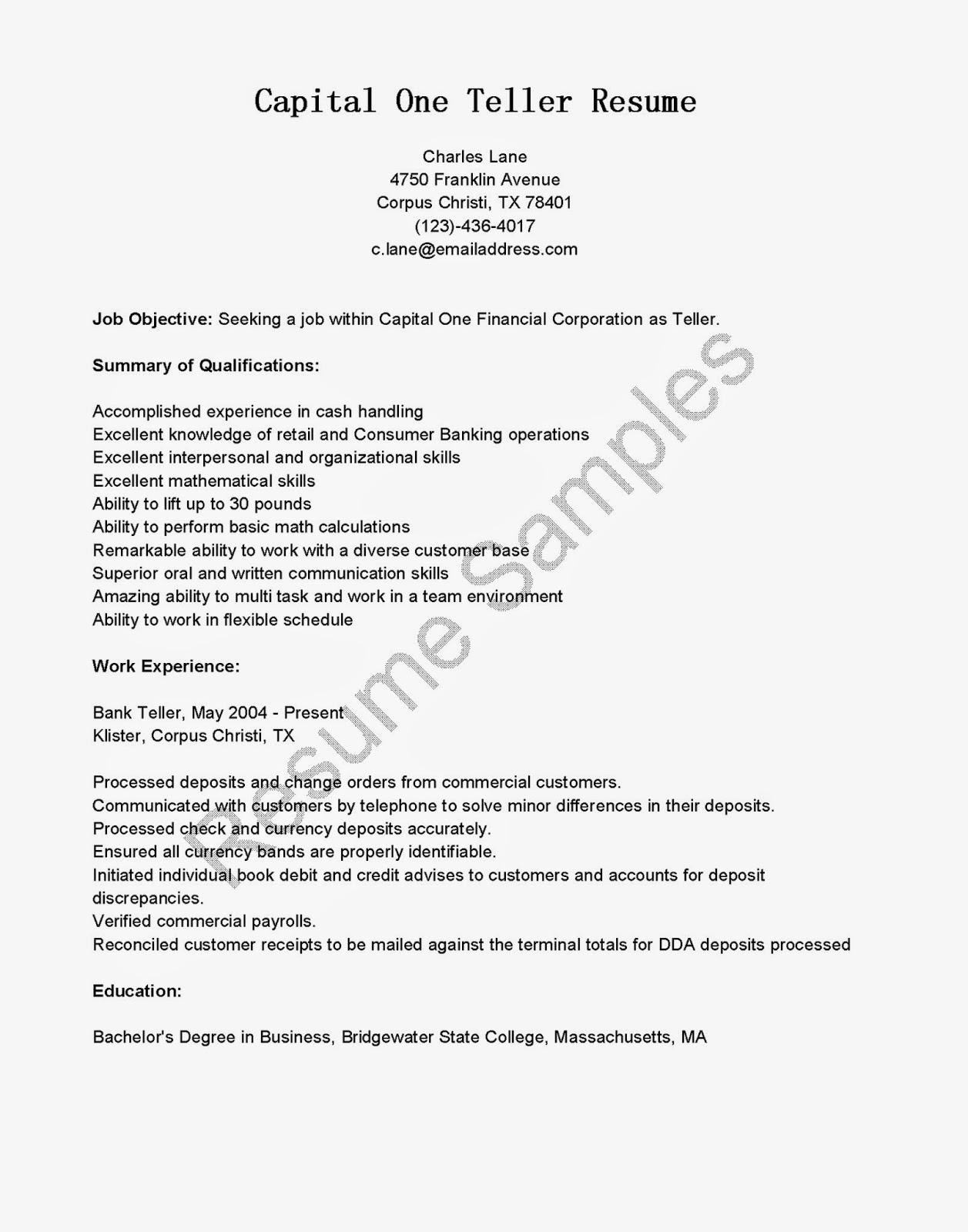 resume samples  capital one teller resume sample