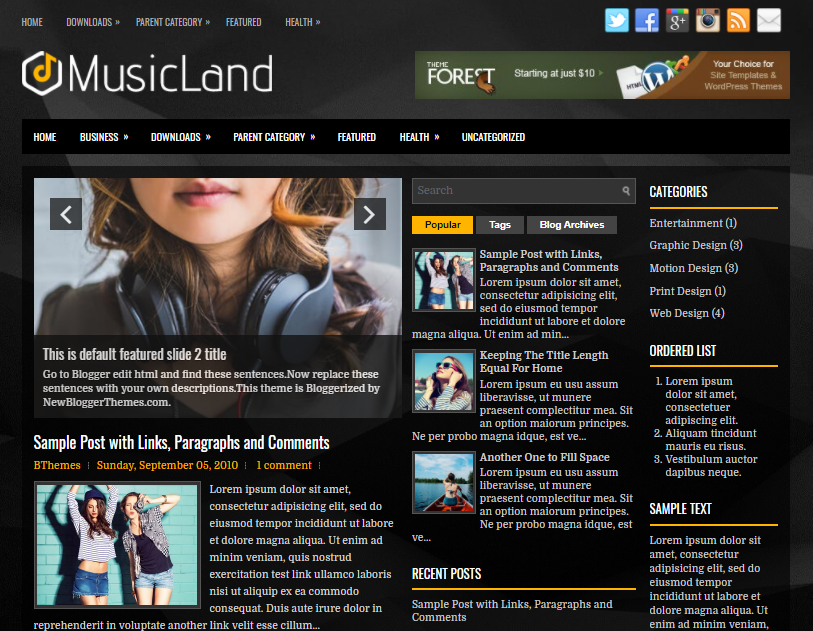 MusicLand Blogger Template