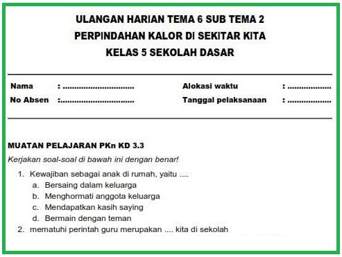 Soal PTS Kelas 5 SD Semester 2 Tema 6 Kurikulum 2013