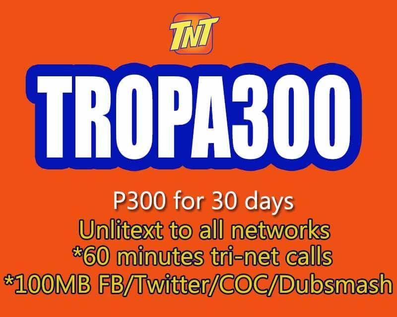 7d1fa5230f TNT TROPA300 – 30 Days 100MB FB per day + Unli All net Texts ...