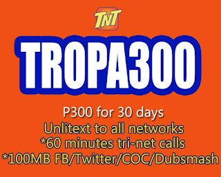 TNT TROPA300 – 30 Days 100MB FB per day + Unli All net Texts