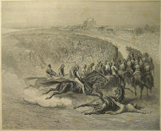 A detailed engraving of a horse race, in which one horse and jockey has fallen.