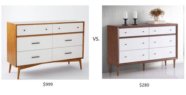 Look for Less West Elm Mid-Century Dresser- the Baxton Studio Harlow Mid-Century Dresser Alternative