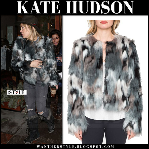 Kate Hudson in grey and green faux fur jacket willow and clay and black fur winter boots sorel joan of arctic what she wore