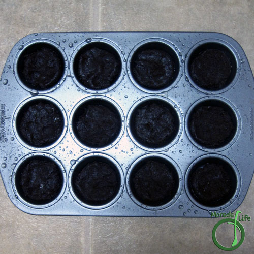Morsels of Life - Brownie Cookies Step 5 - Place 1 tablespoon cake batter into each well of a mini muffin tin.