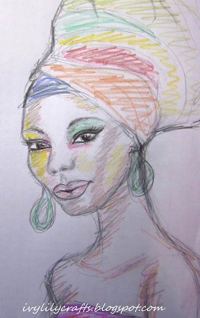 Sketch of an African Girl Wearing a Colorful Turban.