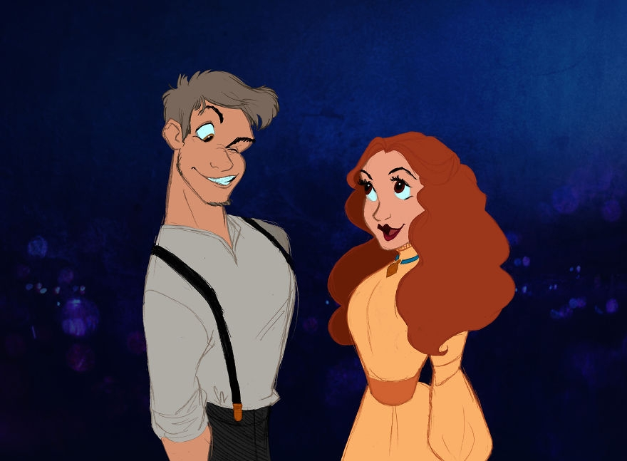 08-Lady-And-The-Tramp-Alaina-Bastian-s0alaina-Drawings-of-Disney-Animals-with-a-Second-Life-as-Humans