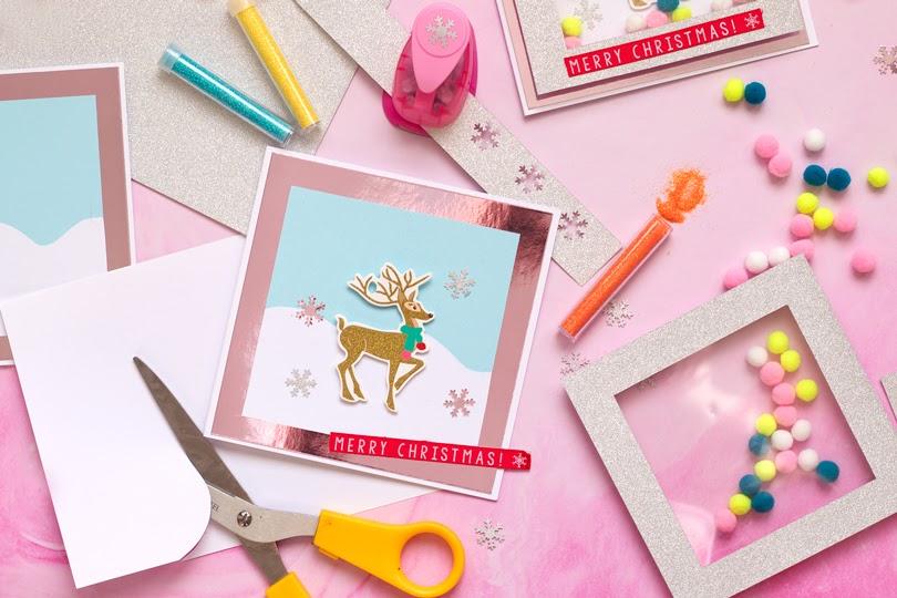 diy reindeer pom pom shaker cards