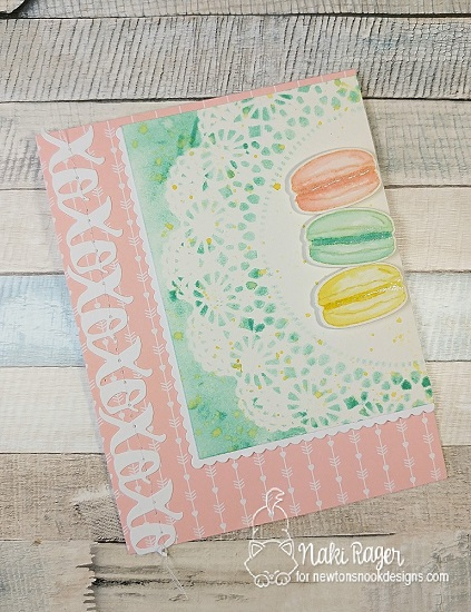 Macaron card by Naki Rager for Inky Paws Challenge 41 | Love & Chocolate Stamp set by Newton's Nook Designs #newtonsnook