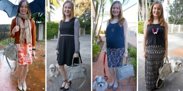 4 ways to wear: monochrome outfits and Rebecca Minkoff MAB satchel | Away From Blue