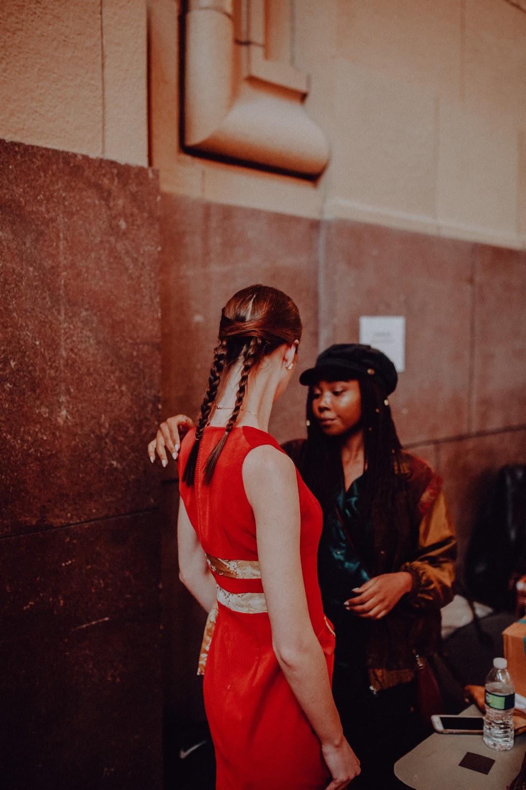 Morgan Pashen model backstage with designer Natasha Shangari at Union Station