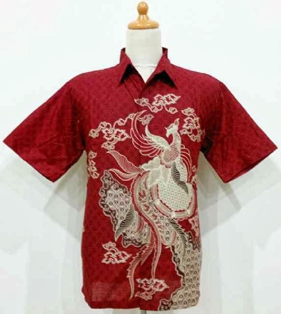 Hem Batik Pria Pola Burung Bintang