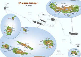 Interactive travel tourist map AZORES