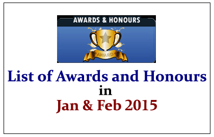 List of Important Awards and Honours