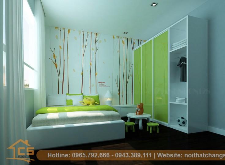 thi công nội thất phòng ngủ em bé chung cư goldmark city