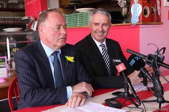 L-R: Craig Foss, National MP, Tukituki, Minister of Small Business; Lawrence Yule, mayor, Hastings District Council - announcing a Havelock North Business Recovery Package, at Pipi, Havelock North.  photograph