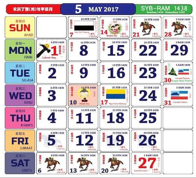 Gambar Kalendar 2017 Termasuk Cuti Peristiwa bulan 5 Mei