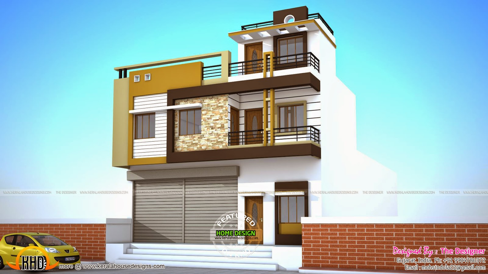2 house plans with shops on ground floor kerala home for Pictures of house designs and floor plans