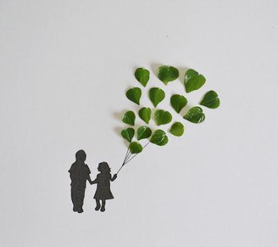 ilustraciones creadas con hojas de plantas