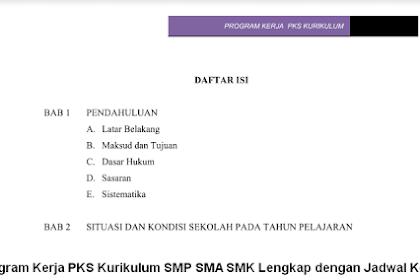 Program Kerja PKS Kurikulum SMP SMA SMK Lengkap dengan Jadwal Kegiatan